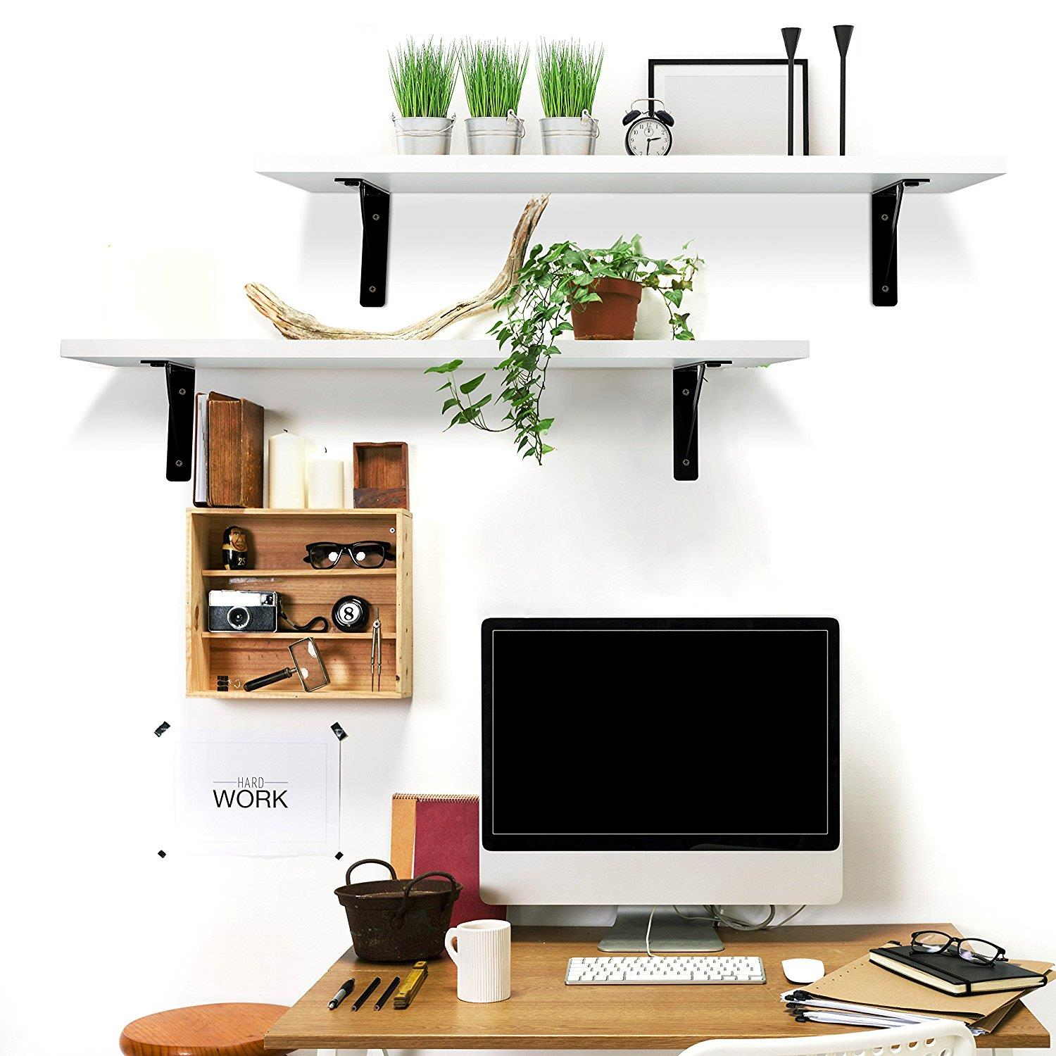 Details about New 2 Display Ledge Shelf Floating Shelves Kitchen Living  Room Wall Mounted Rack